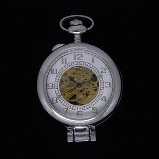 Free shippinghotwholesaleMagnifier mechanical 2012 New vintage antique silver pocket watches necklace for mens woman wedding