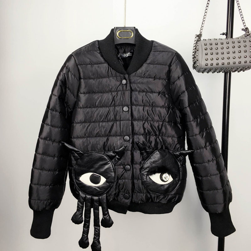 Europe Fashion 2016 Autumn and Winter Stand Collar Long Sleeve Jacket Loose Black Cotton Jacket Single