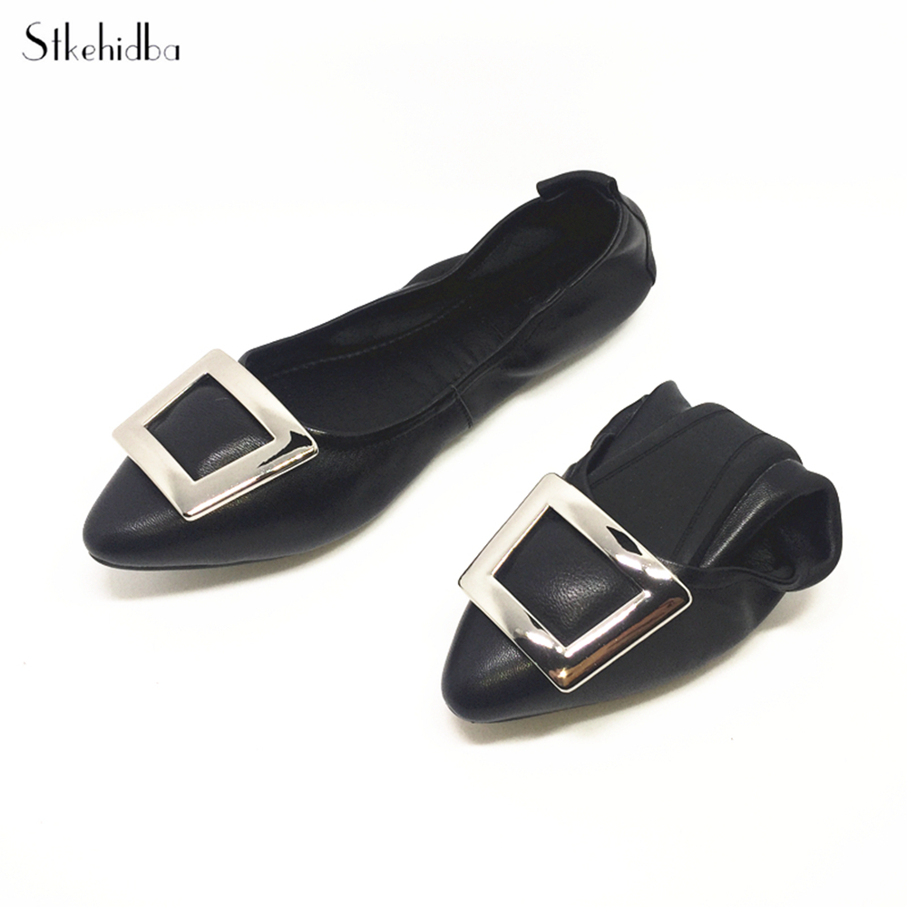 Stkehidba Women Shoes Genuine Leather Shoes Hot Sale Ballerina Flats 35 41 Roll Up Ballet Flats