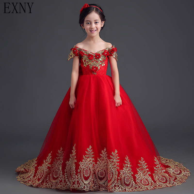 EXNY 2019 Red Ball Gown   Flower     Girl     Dresses   with Gold Lace 3D Floral   Flowers   Tulle   Girls   Prom Party Gown