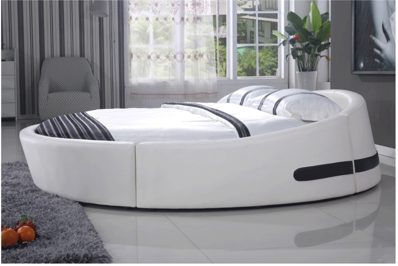 Soft bed design chinese latest king size round bed 811 in for Round bed design images