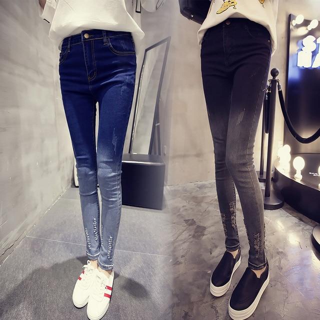 2016 new spring Korean all-match Slim Slim Skinny Jeans Pants female gradient hole