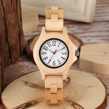 Pure Little Cute Round Dial Chic HOur Clock Full Bamboo Wood Watch Wome