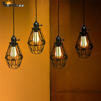 Sunligoo E27 Iron Art Hanglamp Fitting  industriële Black Metal Vogelkooi Lampenkap Plafondlamp voor Keuken Eetkamer Bar