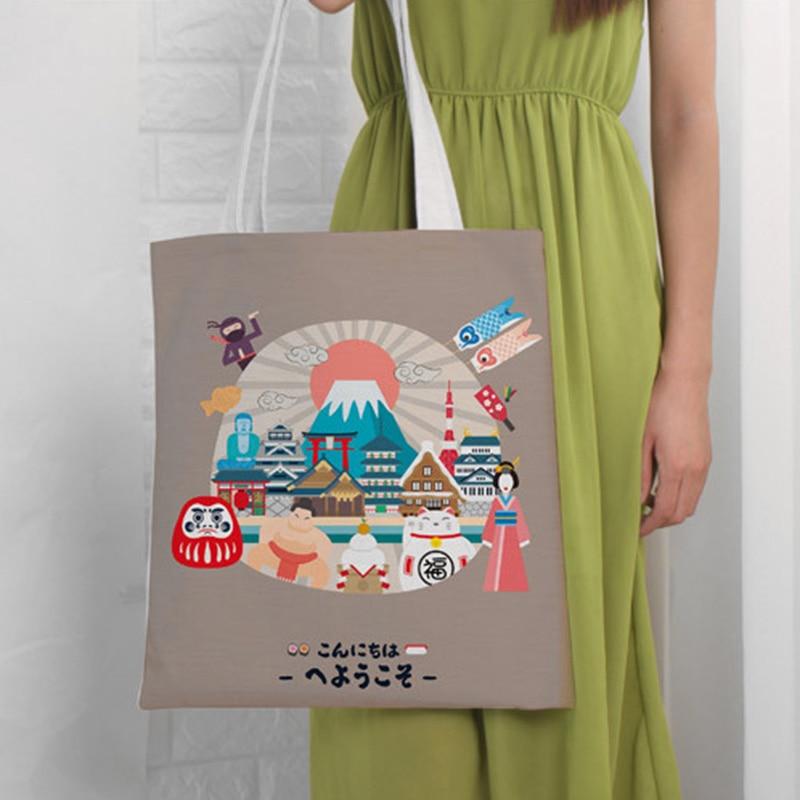 EXCELSIOR Cartoon Printed Women's Shoulder Bags Large Capacity Shopping Bag Customize Canvas Handbag Summer Beach Bag Bolsa 1