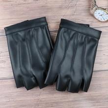 YHETERNAL Fashion Half Finger Driving Women Gloves PU Leather Men Fingerless Gloves For Women Black Mittens Small Size for male
