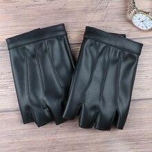 YHETERNAL Fashion Half Finger Driving Women Gloves PU Leather Men Fingerless For Black Mittens Small Size for male