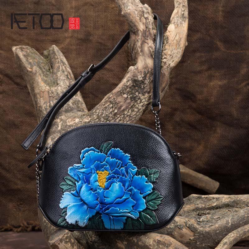 AETOO Mini shell bag chain bag leather sweet lady bag head layer leather shoulder diagonal embossed handbag все цены
