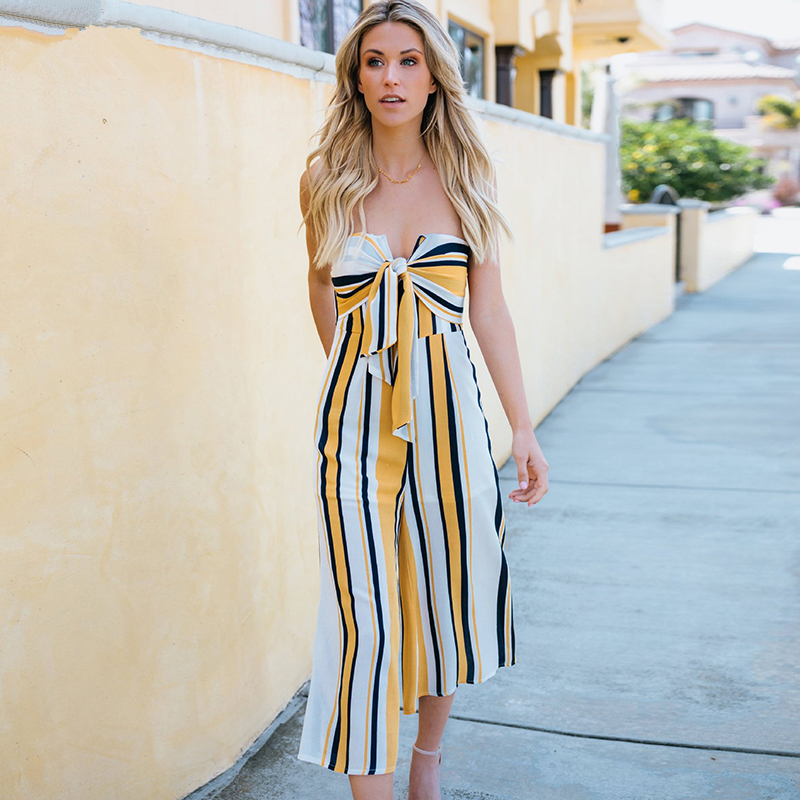 87133a7e4c1 Young Zeal Off Shoulder Bow Wide Leg Pant Casual Summer Jumpsuit Women  Striped Backless Sexy Strapless