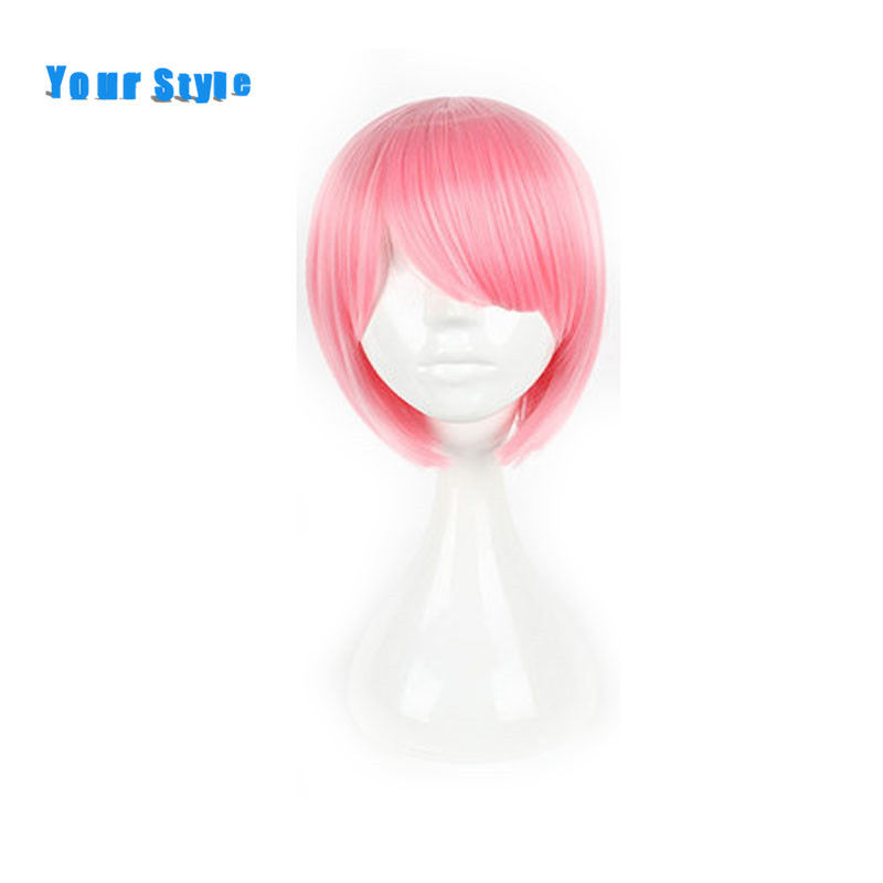 Your Style Short Bob Style Haircuts Wigs With Bangs Women Cosplay Pink Light Blue Hair Wigs Synthetic High Temperature Fiber