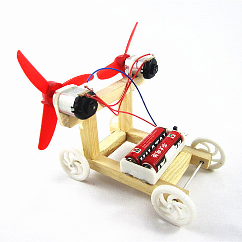 Wholesale Physical Science Experiments DIY Electric Wind Car Child Kids Students Technology Creativity Training Happy Learning