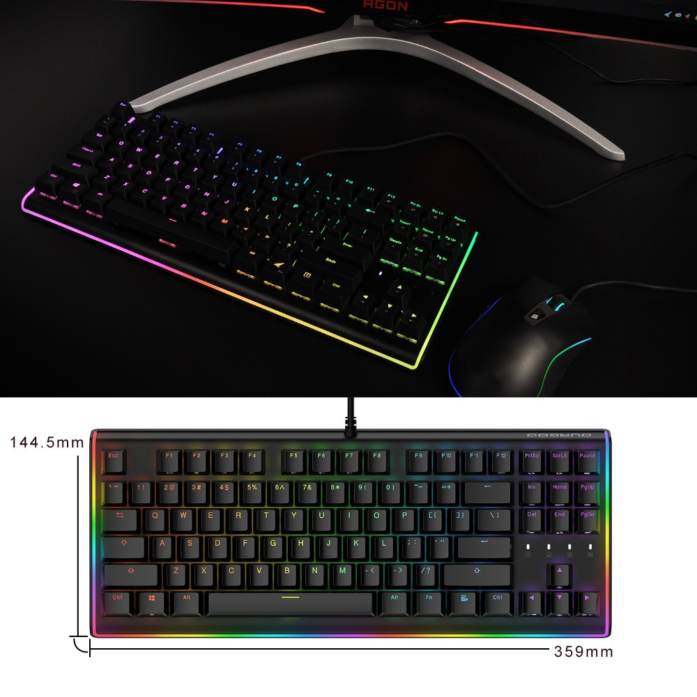 DURGOD RGB Gaming Mechanical 87 Keys LED Backlit Flowing Light Edge Gamer Cherry MX Brown Switches