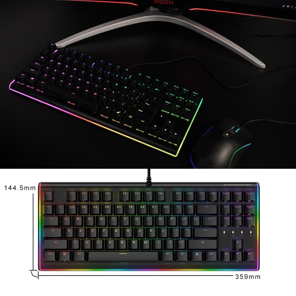 b514738e41a DURGOD RGB Gaming Mechanical Keyboard 87 Keys LED Illuminated Backlit  Flowing Light Edge Gamer Keyboard Cherry MX Brown Switches