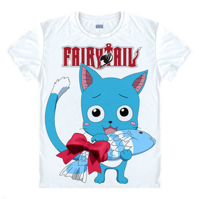 Fairy Tail Anime Natsu and Lucy Print Cotton Casual Short Sleeves Men's T-shirt
