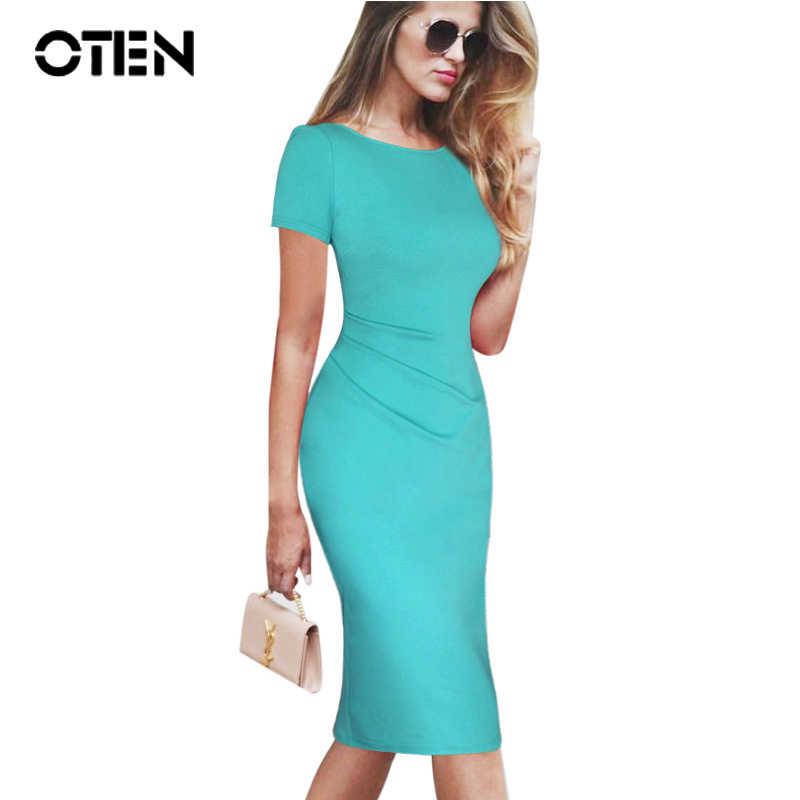 4fa6976a4f6 OTEN летние женские вечерние платья для офиса bodycon sexy Ruched V молния  сзади повседневная одежда работы