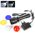 2017 New 3W Flashlight 2000 Lumens linterna LED Torch 3 Mode Lithium Ion Battery Charging Torch Lamp Black with 4 Lense