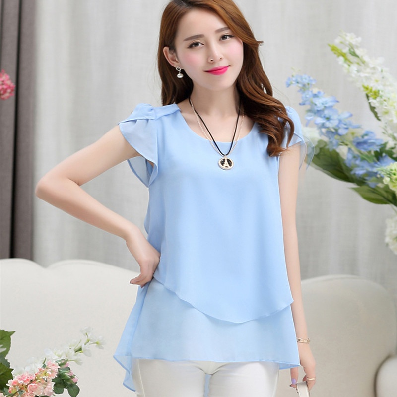 25bdc0fec41 Womens double irregular solid shirts Women Chiffon blouses 2018 New Summer  style Fashion casual ladies Tops Plus Size XXXXXL-in Blouses   Shirts from  ...