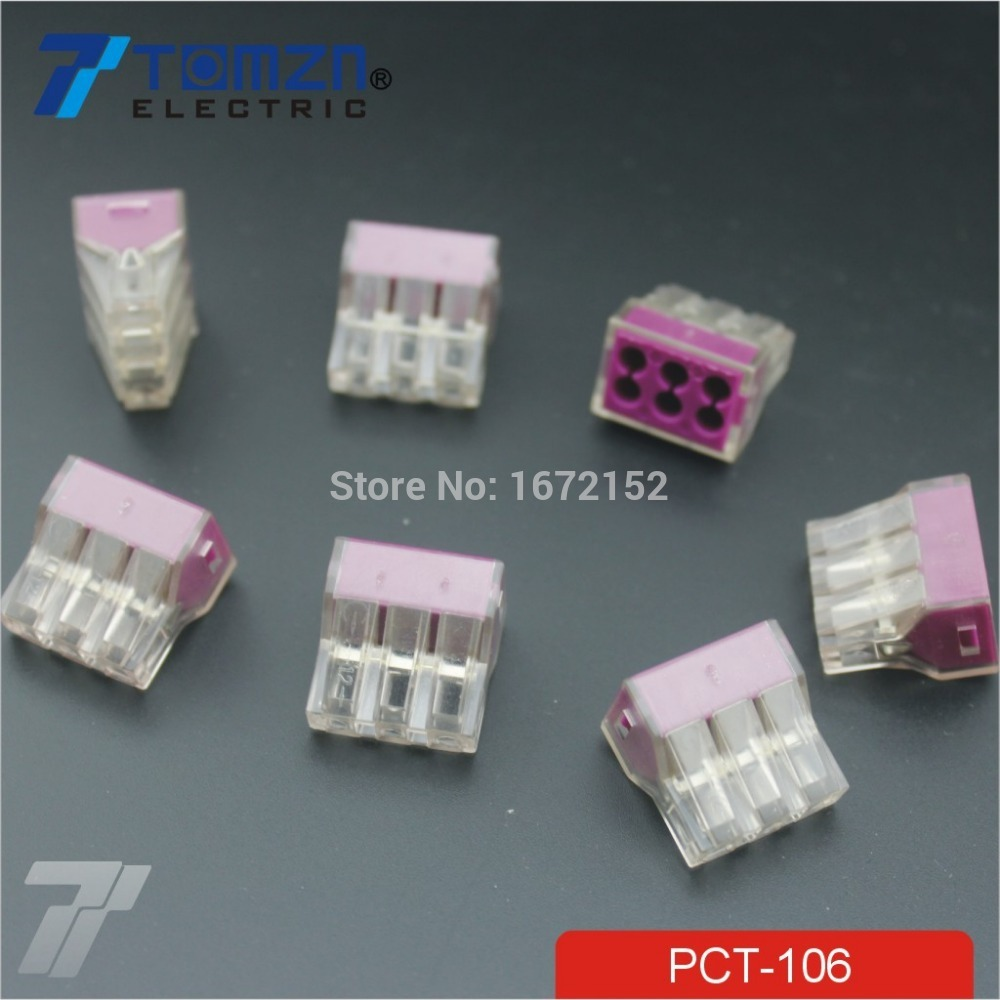 100pcs Pct 106 Push Wire Wiring Connector For Junction Box 6 Pin Phone Terminal Block Conductor