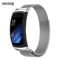 Zuczug Wrist Band For Samsung Gear Fit 2 Milanese Magnetic Loop 316 Stainless Steel Watch Strap + Connector Metal Adapter