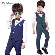 Boys Formal Tuxedo Dress Suits kids Weeding Sets Vest Pants 2pcs Kids Costumes Children Fashion Clothing Boy Birthday Suit Set