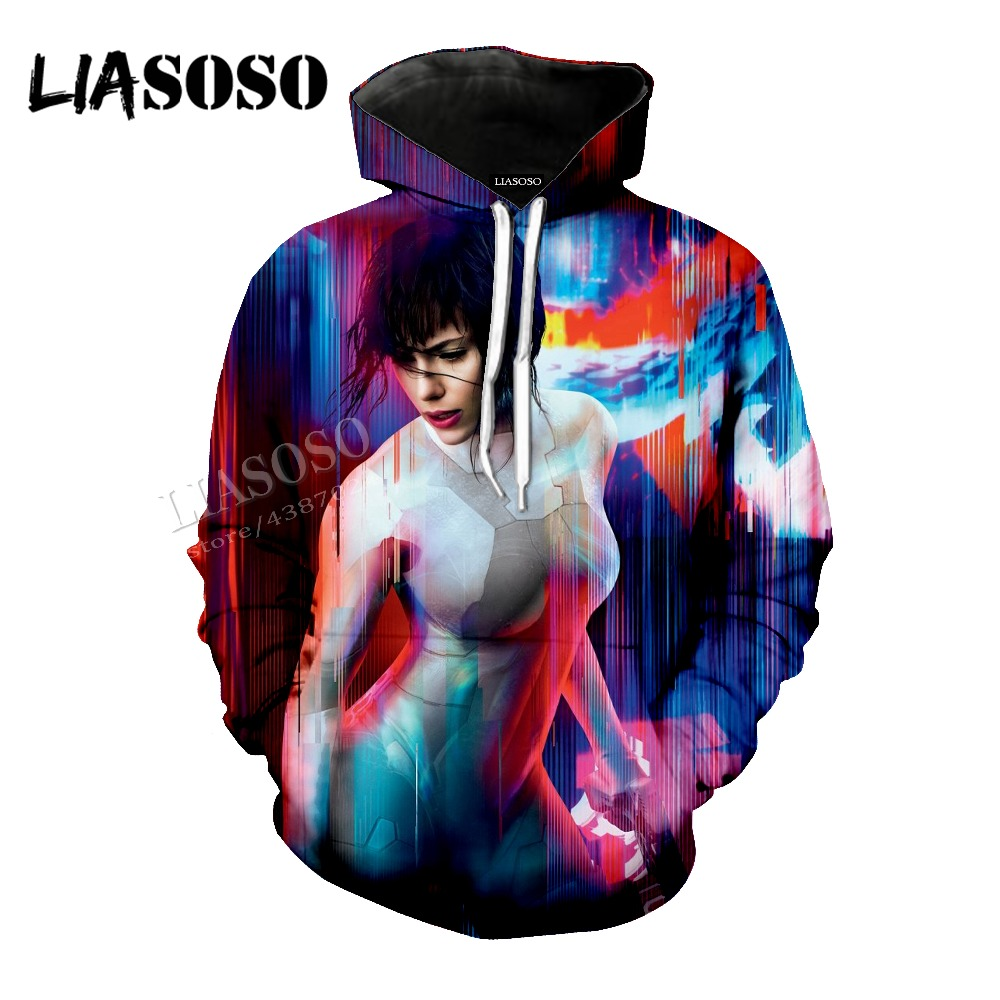 LIASOSO neutral top (Ghost in the Shell) 3D printing (Scarlett Johnson) Short sleeve / Hat coat / pullover / zipper hoodie CX015