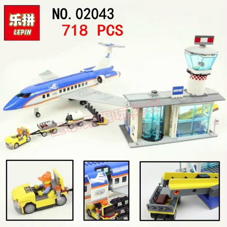 New LEPIN 02043 718PCS Building Blocks Bricks New Genuine City Series Airport terminal Toys for Children gifts compatible 1713 city swat series military fighter policeman building bricks compatible lepin city toys for children