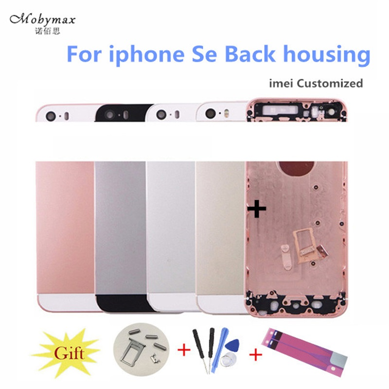 Chassis Back Housing Fundas for iPhone SE A1723 A1662Battery Cover Coque+LOGO& Buttons&Sim Tray+Sticker+Custom IMEI Middle Frame