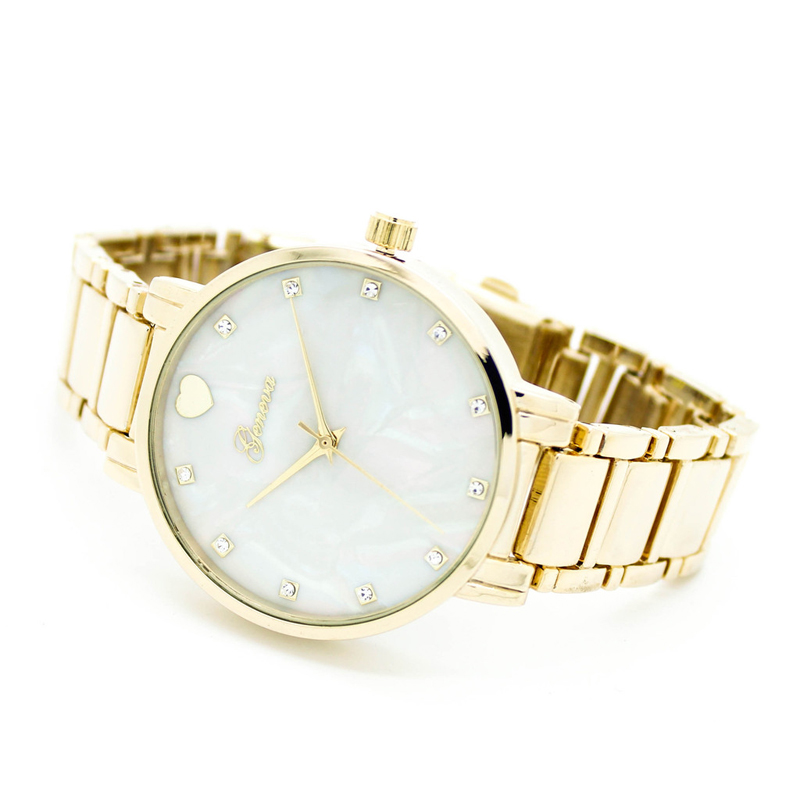 Hot selling famous brand women cute watch mother of pearl heart dial Geneva watch clock woman with Japan quartz cute love heart hollow out bracelet watch for women