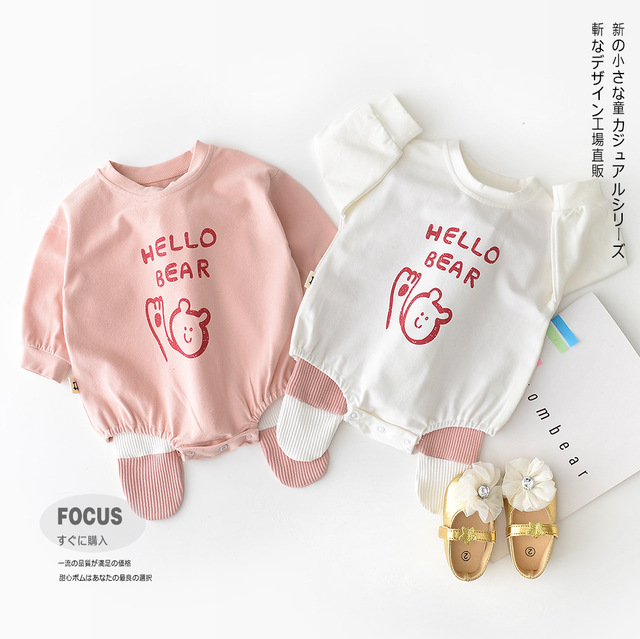 95b65ee26cb8 Korean Leisure Cotton Printed Bears Baby Rompers Girls Boys Long Sleeve  Cute Overall Infant Outfits