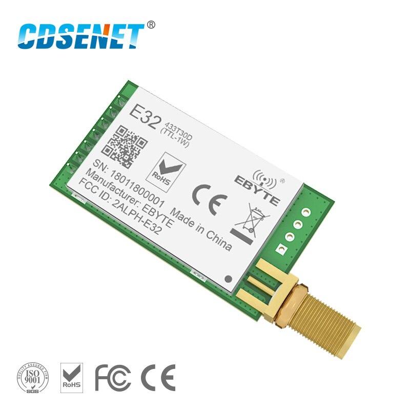 LoRa SX1278 SX1276 433 Mhz módulo rf, transmisor receptor 8000 M E32-433T30D UART de largo alcance, 433 Mhz, 1 W inalámbrico, transceptor de rf