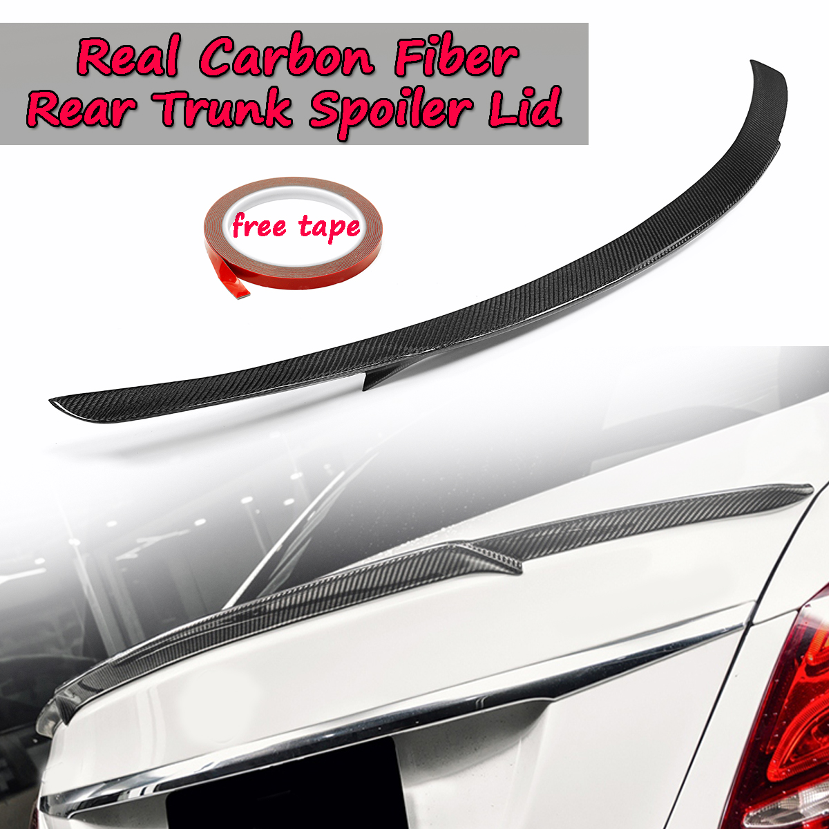 Real Carbon Fiber Trunk Spoiler Lid For Mercedes-Benz W205 C-Class & C63 For AMG S B STYLE 2015-2018 Rear Tunk Rear Wing Spoiler carbon fiber rear roof spoiler window wing frp black for mercedes benz c class s205 wagon hatchblack 4 door 15 18 not for amg