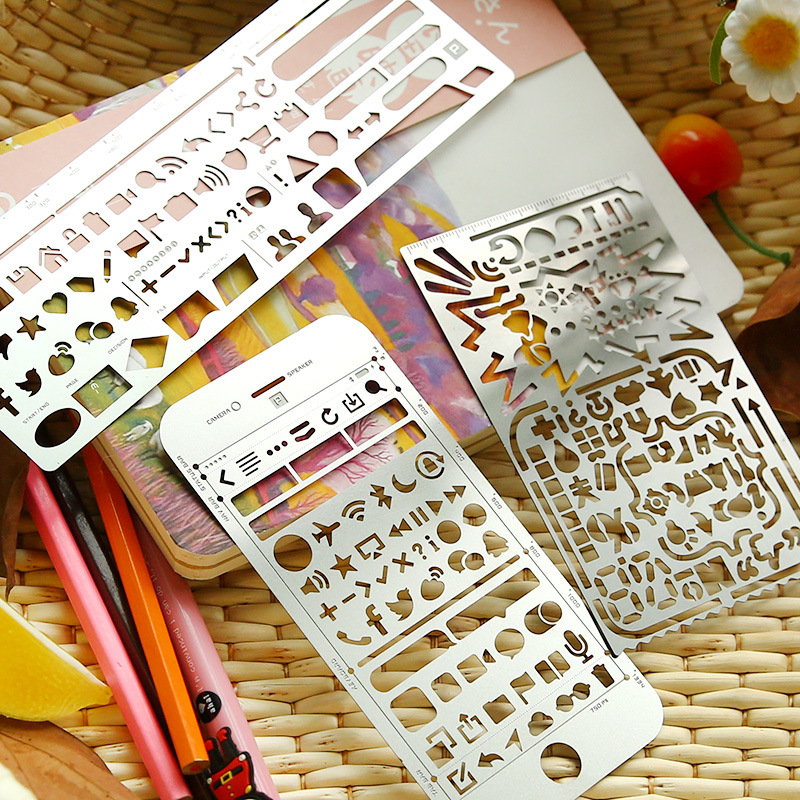 Cute Stationery Multifunctional Metal Hollow Ruler Graffiti Drawing Scrapbooking Dies Ruler For Kid Student School Gift Supplies