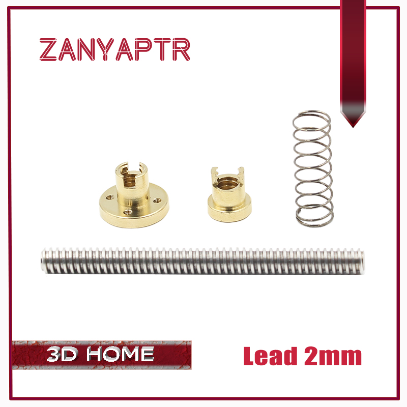 Lead 2mm Anti-Backlash Nut + 200mm 300mm 400mm 500mm T-type Stepper Motor Trapezoidal Lead Screw 8MM T8 For 3D Printer & CNC