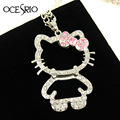 Big Cute Hello Kitty Necklace for Girls Silver Crystal Animal Long Necklace Pendant Hello Kitty Jewelry Women Gifts nke-k54