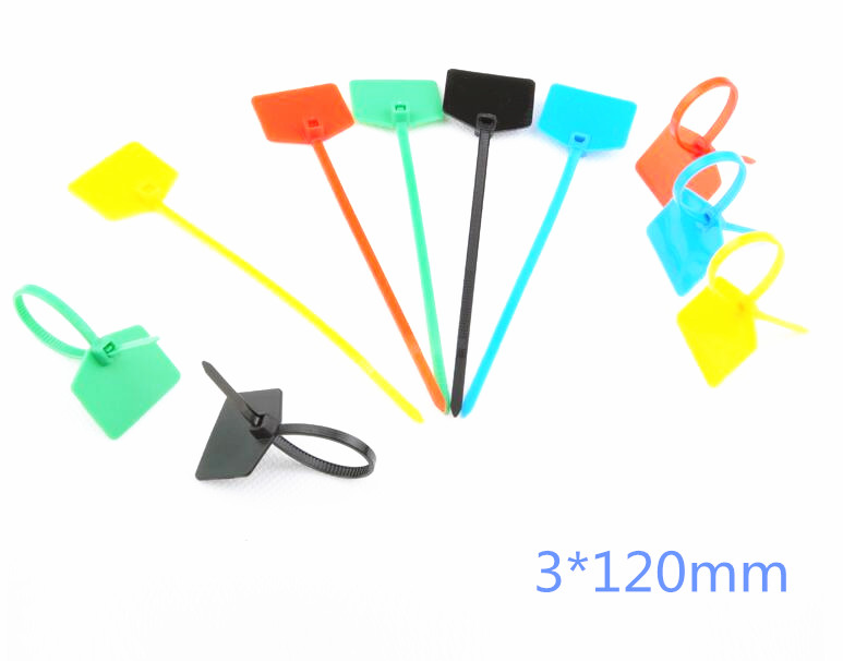 100pcs Nylon Label Cable Ties 3*120mm Self-locking Mark Tags Cable Tie Identification Mark Signs Ties Free Shipping