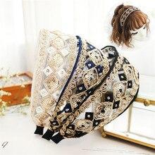 2019 retro fashion high quality temperament lace headband bohemian embroidered fabric extravagant BB ladies headdress