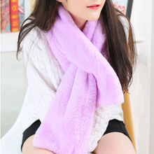 Faux Fur Collar Winter Scarf Women faux Knitted Rex Rabbit Fur Scarves Fur Neckerchief Winter Long Wraps XS028purple(China)