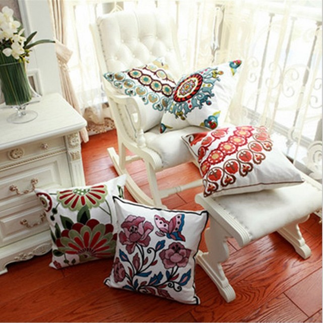 Free Shipping Hand Embroidered Sofa Decorative Pillow Cushions For Car  Decoration Fashion Flower Almofadas Vintage