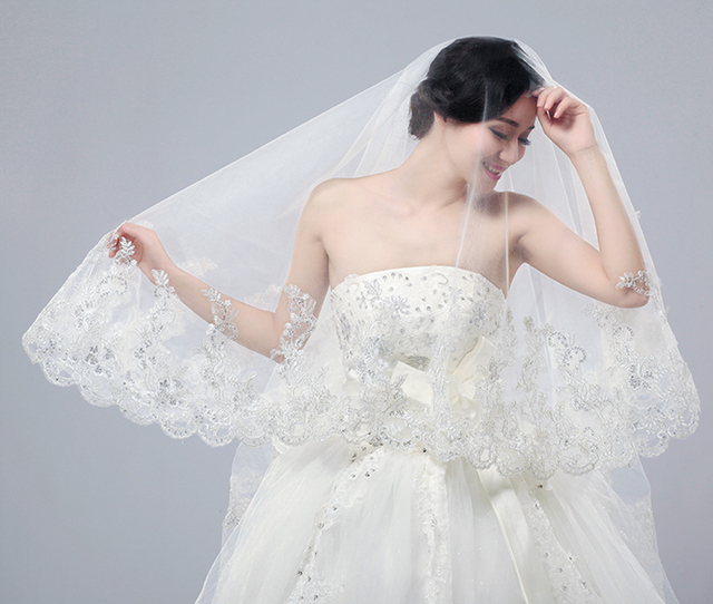 White / Ivory Lace Wedding Veil Bridal Veil 3 Meters Cathedral Long Wedding Veils For Cathedral Wedding Dress
