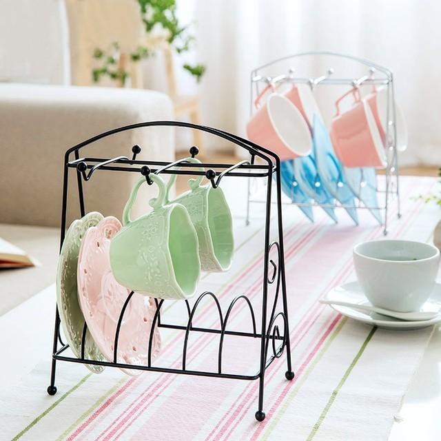 Draining Drying Tea Coffee Cup Mug Rack Hanging 6 Cups Storage Shelf  Organizer Stand Kitchen Holder