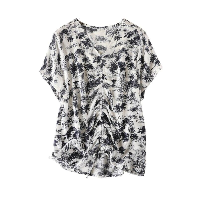 Femmes d'été soie Blouse col en V à manches courtes bureau OL décontracté naturel soie blouses floral vraie soie de base d'été chemise hauts