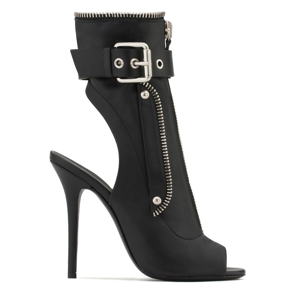 Hot Fashion Black Peep Toe Slingback High Heel Ankle Boots Front Zipper Buckle Strap Boots Ladies Summer Heels Punk Woman Boots in Ankle Boots from Shoes