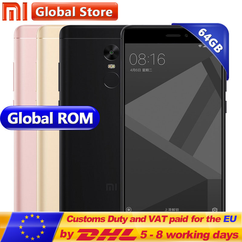 Xiaomi Redmi Note 4X 4 X 4GB 64GB Mobile Phone Redmi Note4X MTK Helio X20 Deca Core 4100mAh 13.0MP 5.5 1920*1080 FHD