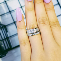 Moonso Real 925 Sterling Silver AAA CZ Princess Cut Wedding Ring Set for Women Jewelry Engagement Wholesale LR3401S