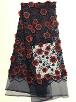 Французская Кружевная Ткань 5yds/pce по dhl полиэстер/хлопок Материал черные шнурки с красными цветами 2018 Новое поступление высококачественных