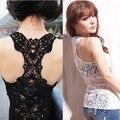 2015 Verão New Fashion Tanque Das Mulheres Top Sexy Tops de Renda Crochet Voltar Oca-out Vest Camisole Feminino Black & Whit Colete ZL2784