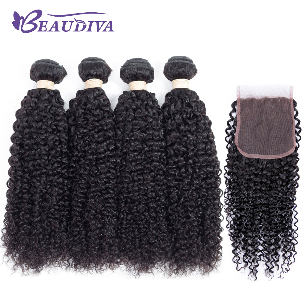 BEAUDIVA Hair Products 100% MALAYSIA Hair Bundles With Closure Kinky Curly Natural Color 4 Bundles With 4x4 Lace Closure