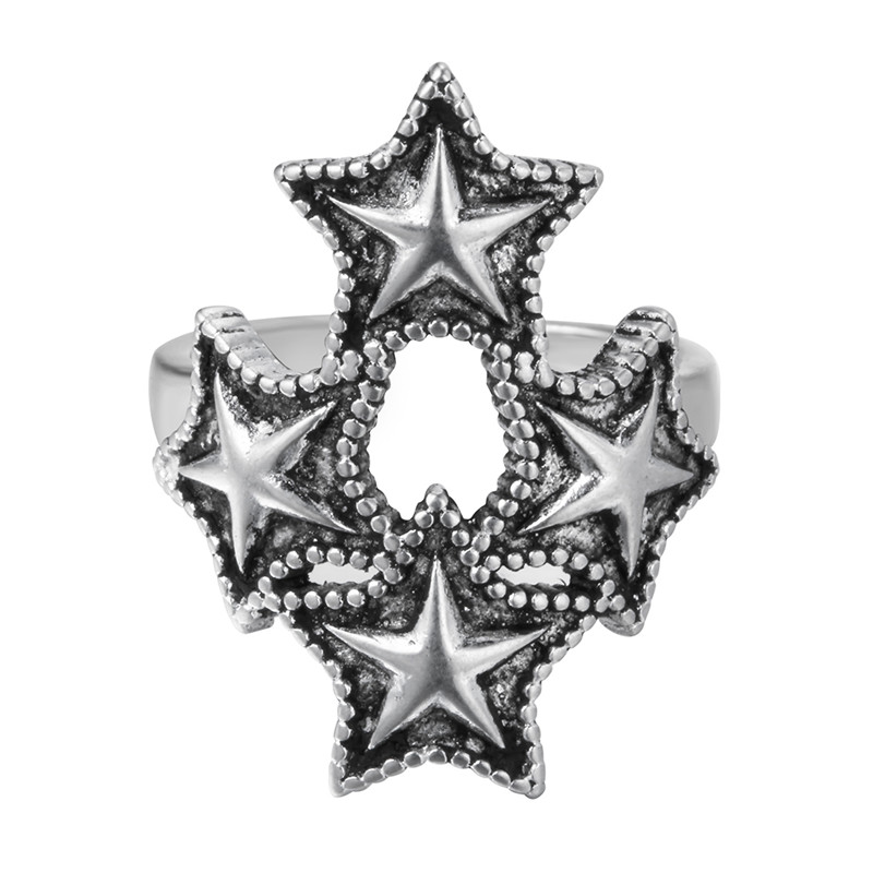 QIMING Silver Jewelry Antique Thai Silver Star Rings Women Vintage Jewelry Best Friend Finger Ring Stars Charm Party Gift