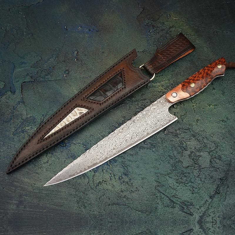 """FZIZUO 8 """"كامل تانغ VG10 دمشق الصلب سكين الطاهي اليدوية الساطور السوشي الساشيمي اليابانية المطبخ فيليه سكين سكاكين المطبخ-في سكاكين مطبخ من المنزل والحديقة على  مجموعة 1"""