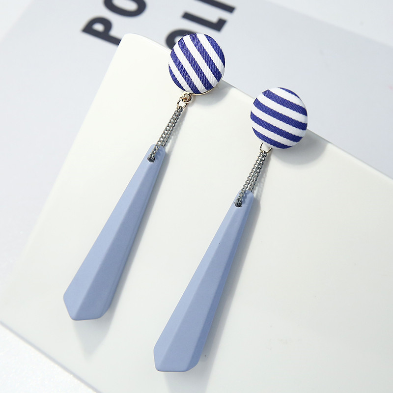 Acrylic Pendant Tassel Stud Earrings Wild Cloth Stripes Long Earrings For Women Beautiful Fashion Stud Earrings New Hot Sale